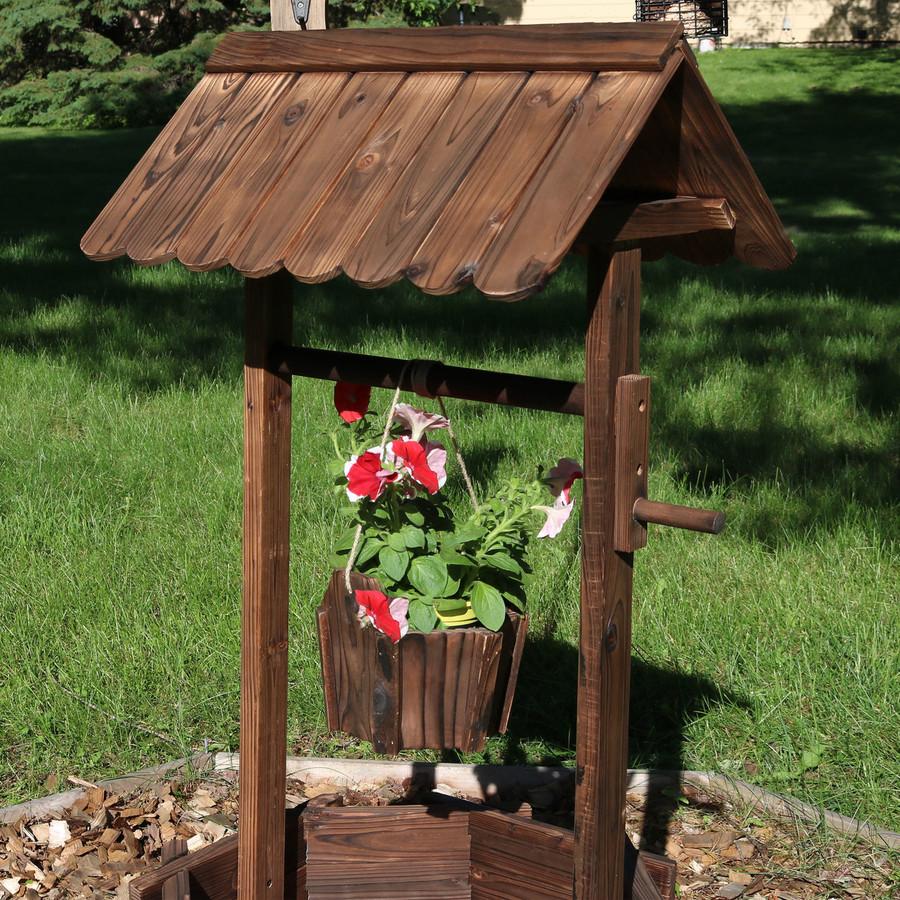 Sunnydaze Wood Wishing Well Outdoor Garden Planter, 45-Inch Tall