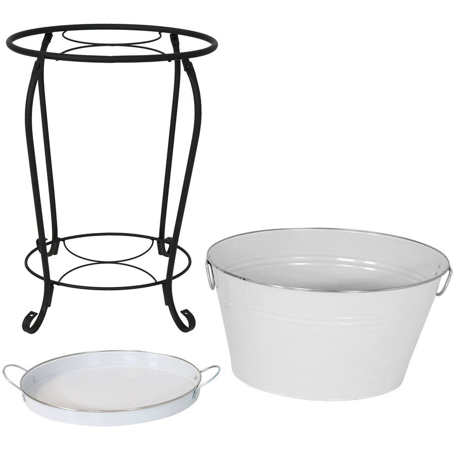 Large Ice Bucket Beverage Holder with Stand and Tray