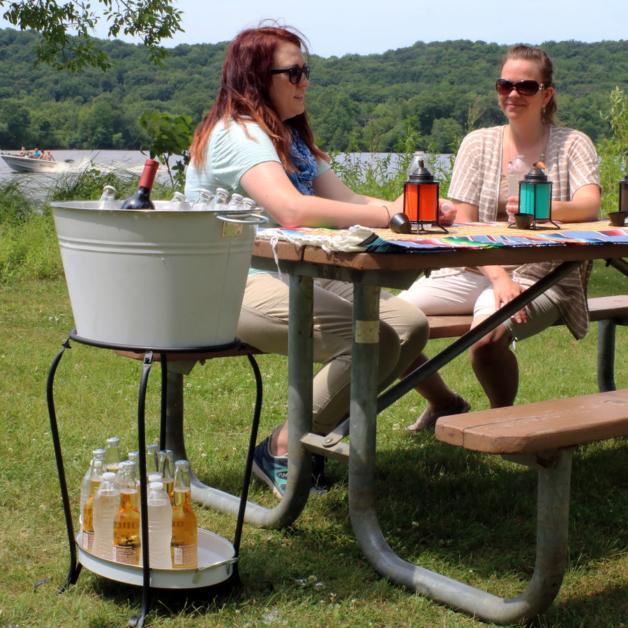 Sunnydaze Large Ice Bucket Beverage Holder with Stand and Tray, White Finish, Holds Beer, Wine, Champagne and More