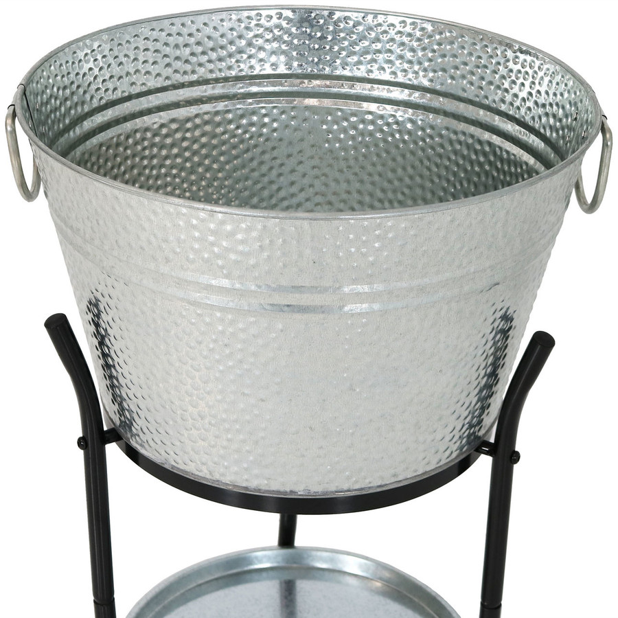 Sunnydaze Ice Bucket Drink Cooler with Stand and Tray Closeup