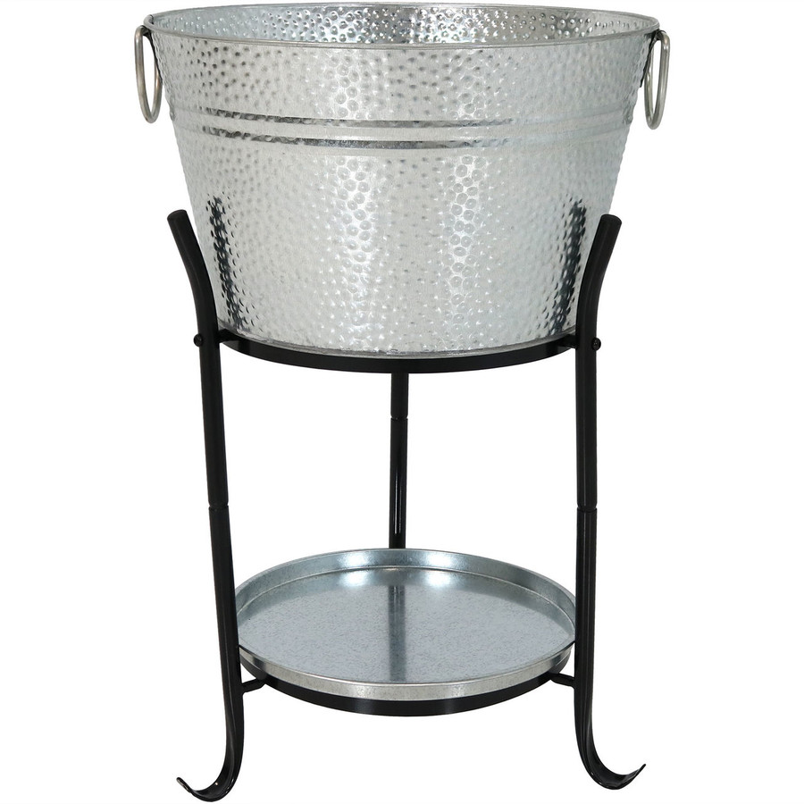 Sunnydaze Ice Bucket Drink Cooler with Stand and Tray Empty