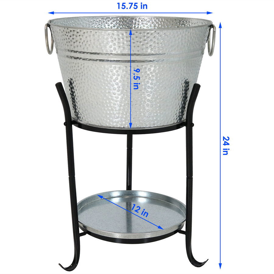 Sunnydaze Ice Bucket Drink Cooler with Stand and Tray Dimensions