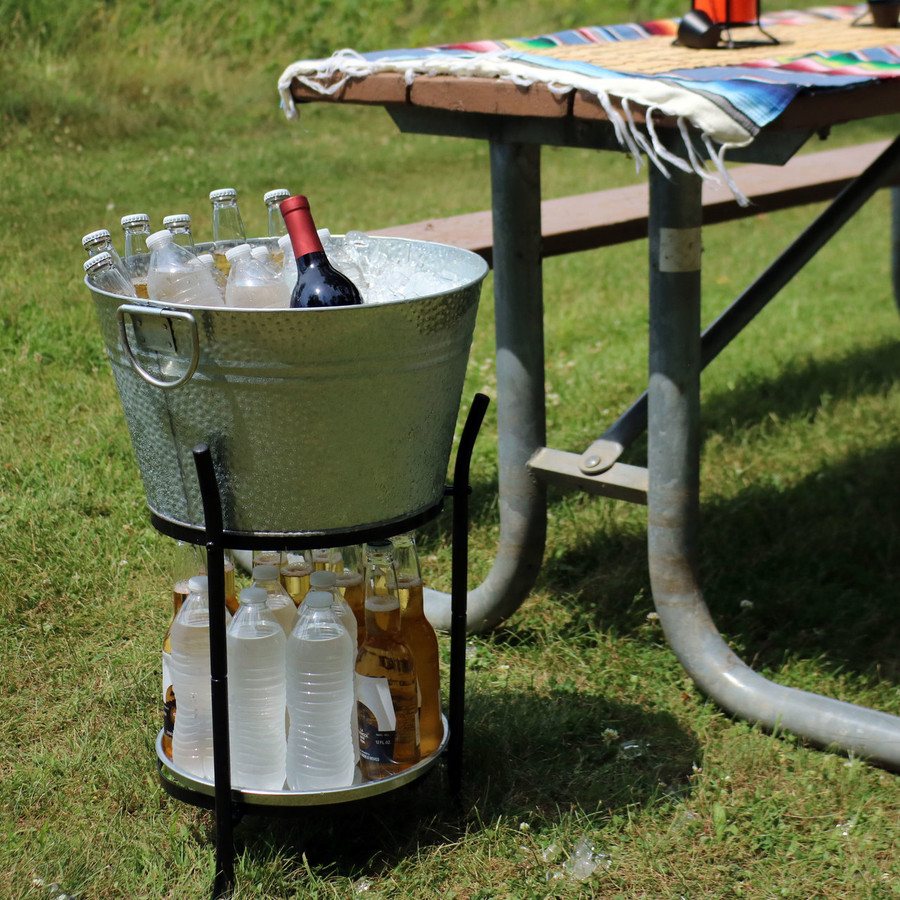 Sunnydaze Ice Bucket Drink Cooler with Stand and Tray Outdoors