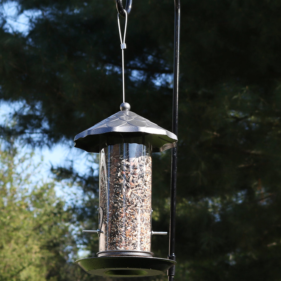 Sunnydaze Wild Bird Seed Feeder with Gray Finish and Acorn Style Roof, 13-Inch