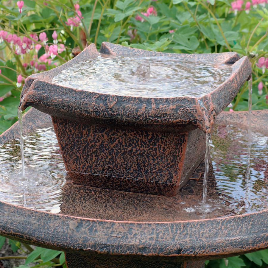 Sunnydaze Modern Zen 2-Tier Outdoor Water Fountain, 30-Inch Tall