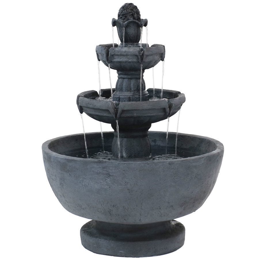 Sunnydaze Budding Fruition 3-Tier Outdoor Water Fountain, 34-Inch Tall