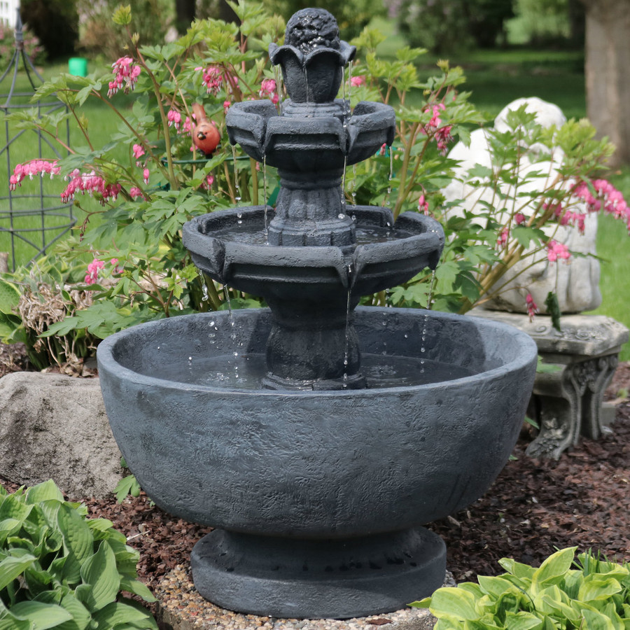 Budding Fruition 3-Tier Outdoor Water Fountain