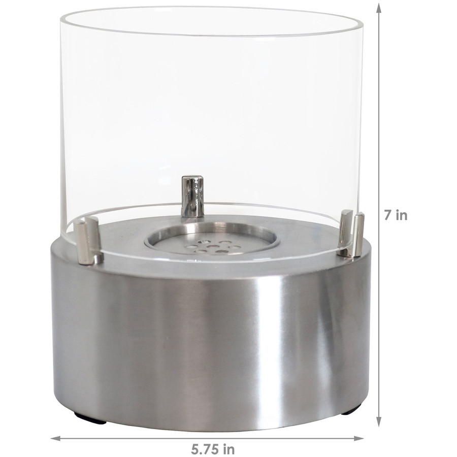 Dimensions of Stainless Tre Poli Tabletop Fireplace