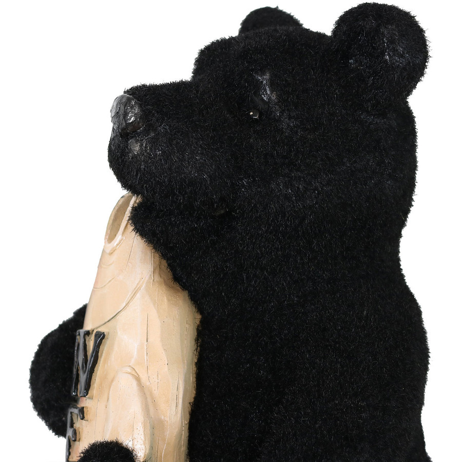 Closeup of Catch of the Day Rustic Bear with Fish Welcome Statue
