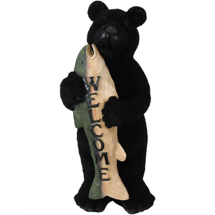 Sunnydaze Catch of the Day Rustic Bear with Fish Welcome Statue, 22-Inch Tall
