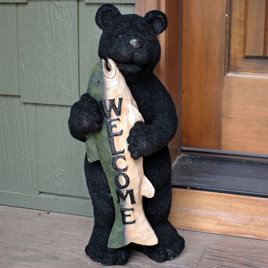Catch of the Day Rustic Bear with Fish Welcome Statue