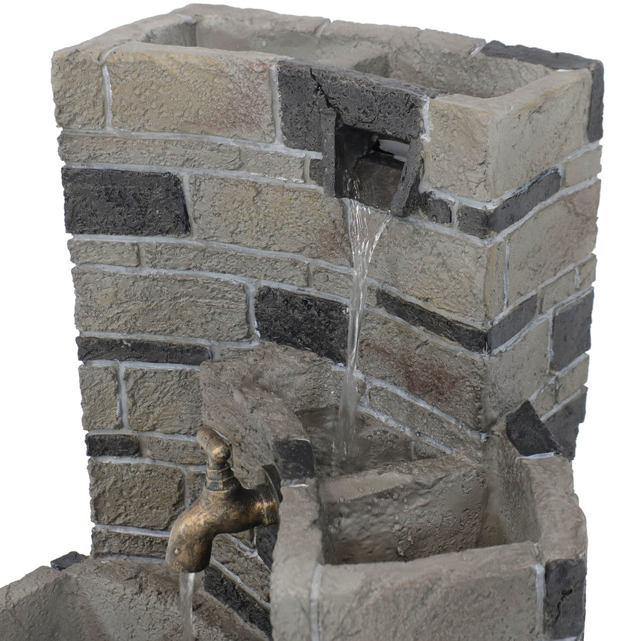 Sunnydaze 3-Tier Brickwork Outdoor Fountain with Spigot, 23-Inch Tall