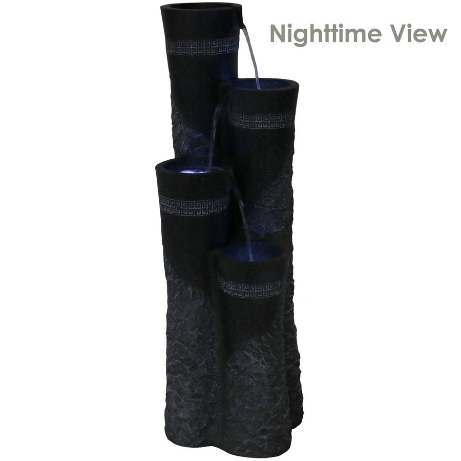4-Tier Staggered Pillars Outdoor Water Fountain, Nighttime