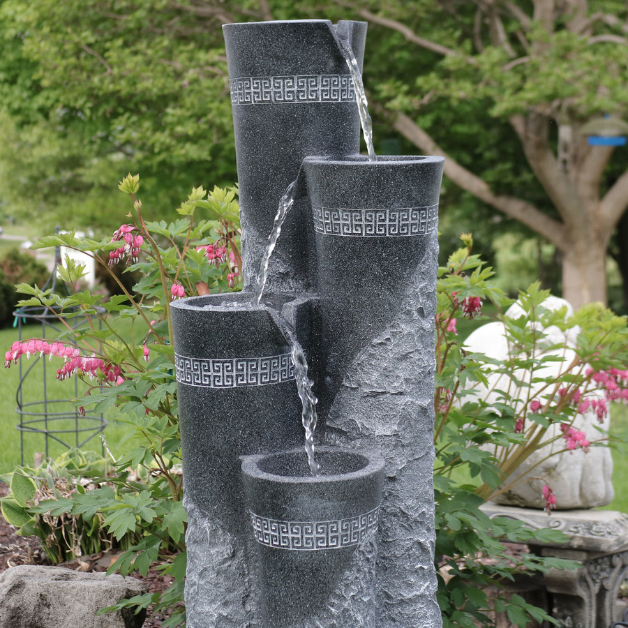 Sunnydaze 4-Tier Staggered Pillars Outdoor Water Fountain with LED Lights, 41-Inch Tall