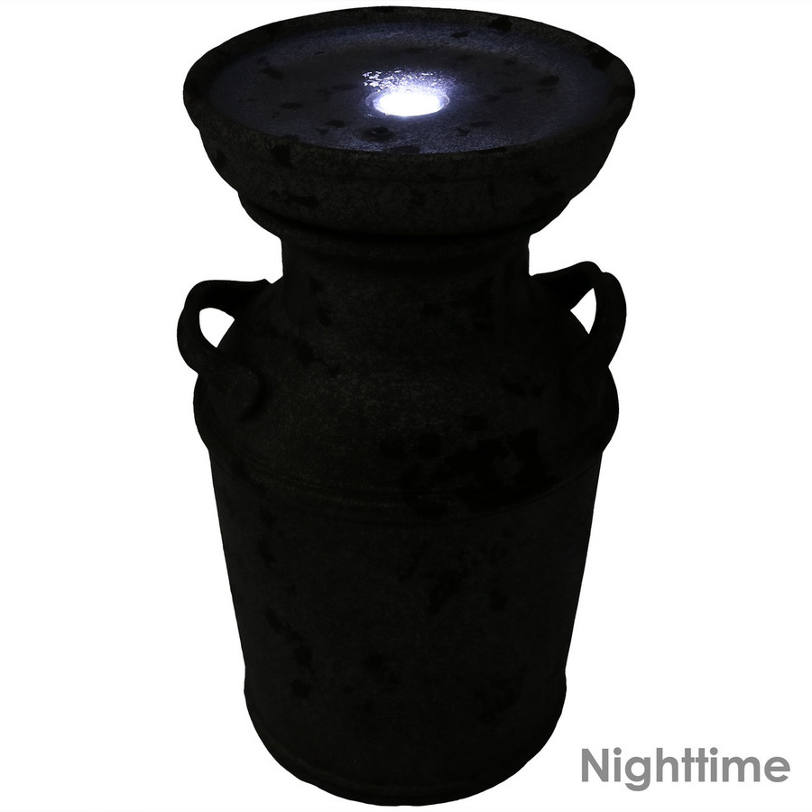 Farmhouse Vintage Milk Can Birdbath Outdoor Fountain, Nighttime