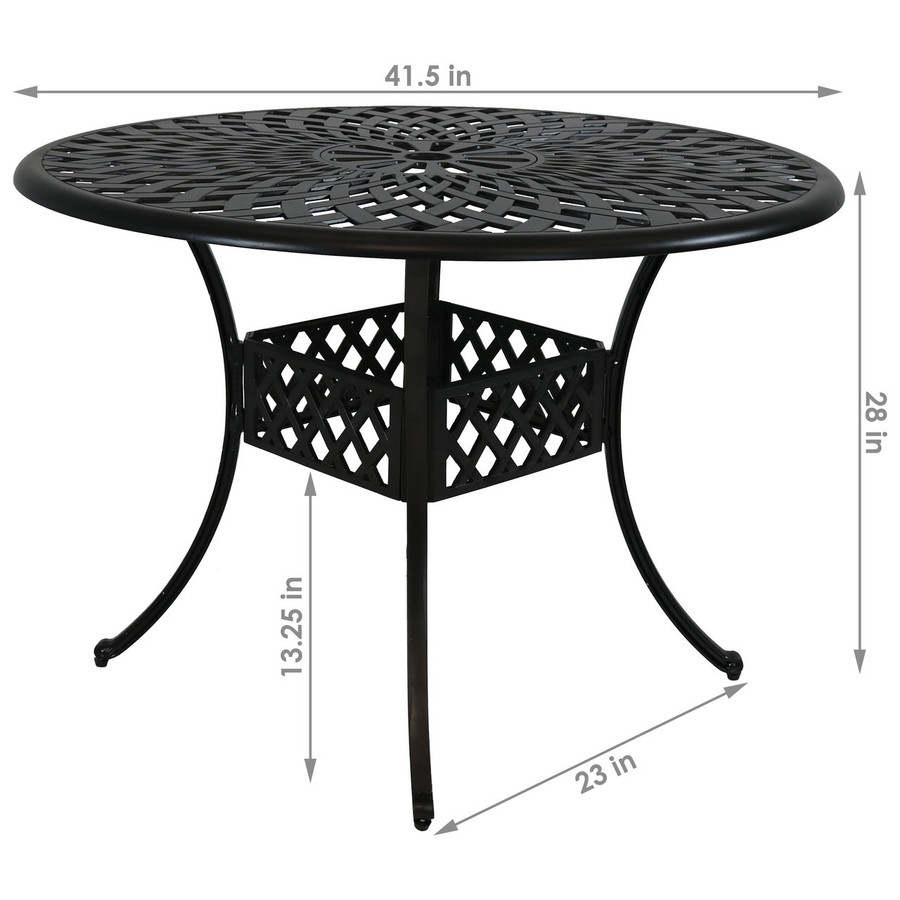 Dimensions of Cast Aluminum Round Patio Table with Crossweave Design
