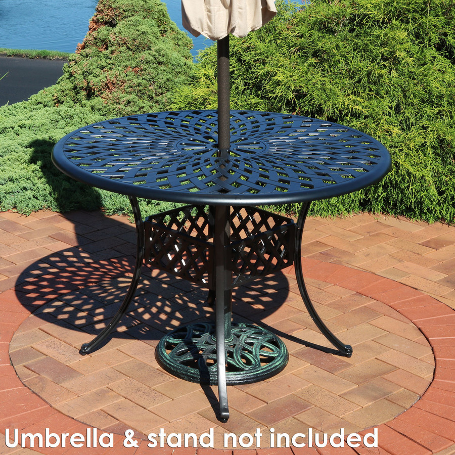 Cast Aluminum Round Patio Table with Crossweave Design