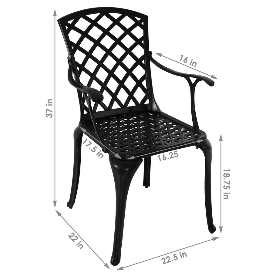 Dimensions of Cast Aluminum Patio Chairs with Crossweave Design