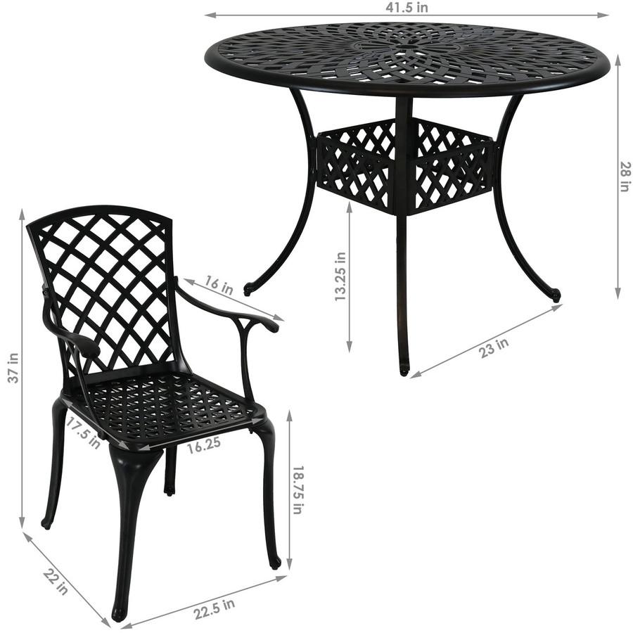 Dimensions of 5-Piece Cast Aluminum Patio Furniture Set