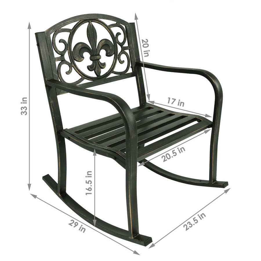 Sunnydaze Patio Rocking Chair, Durable Cast Iron Construction with Fleur-de-Lis Design
