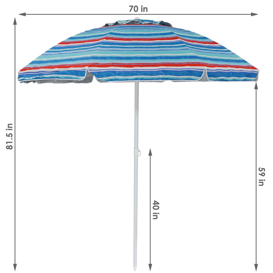 Dimensions for the Pacific Stripe Beach Umbrella