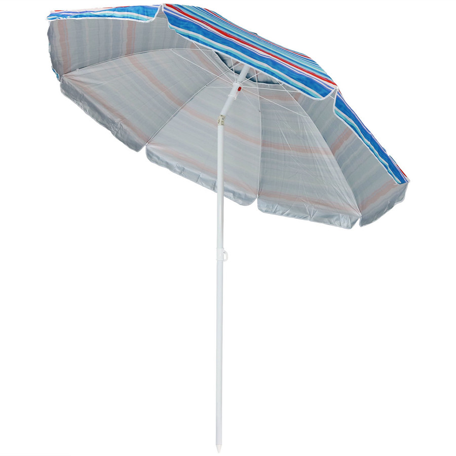 Pacific Stripe Beach Umbrella Tilted