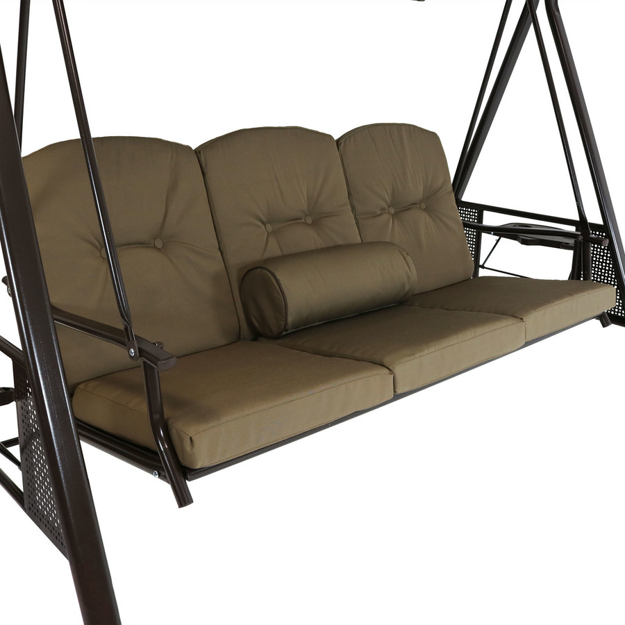 Closeup of Beige Canopy Swing with Pillow