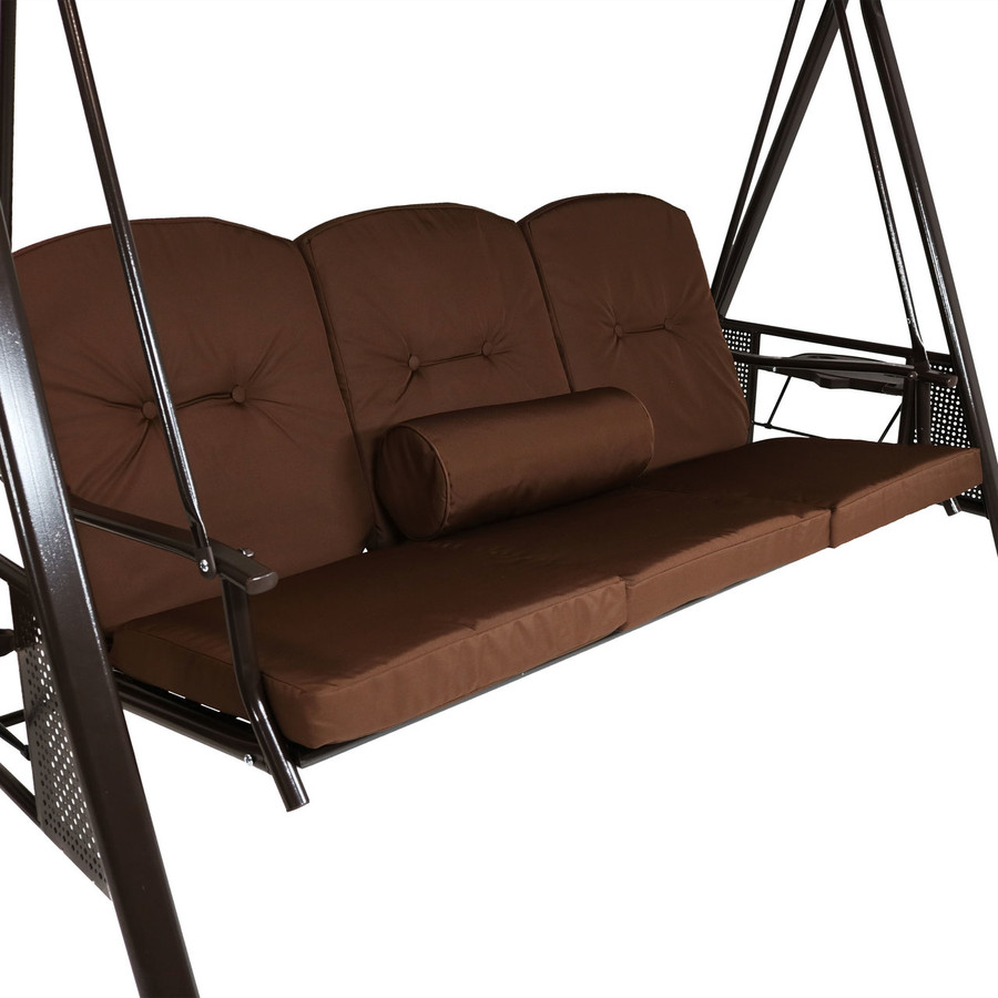 Closeup of Brown Canopy Swing with Pillow