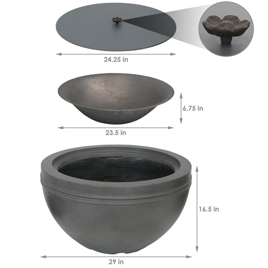 Dimensions of Large Gray Cast Iron Fire Bowl Fire Pit with Steel Cover