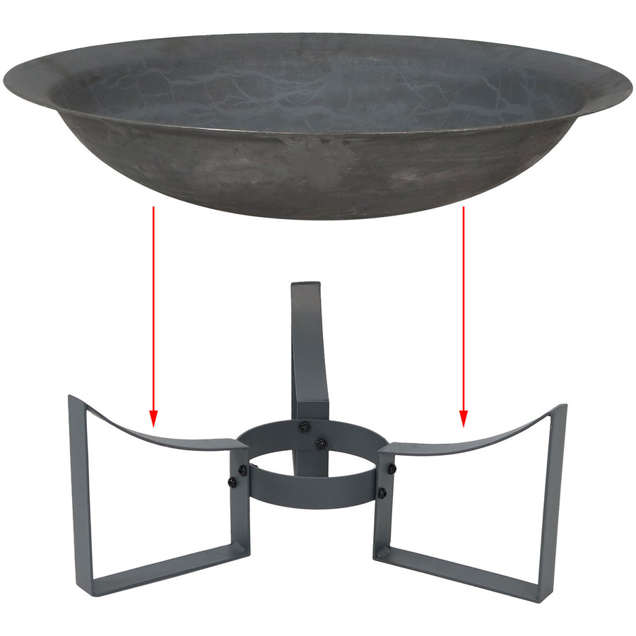 Assembly of Modern Cast Iron Fire Pit Bowl with Stand