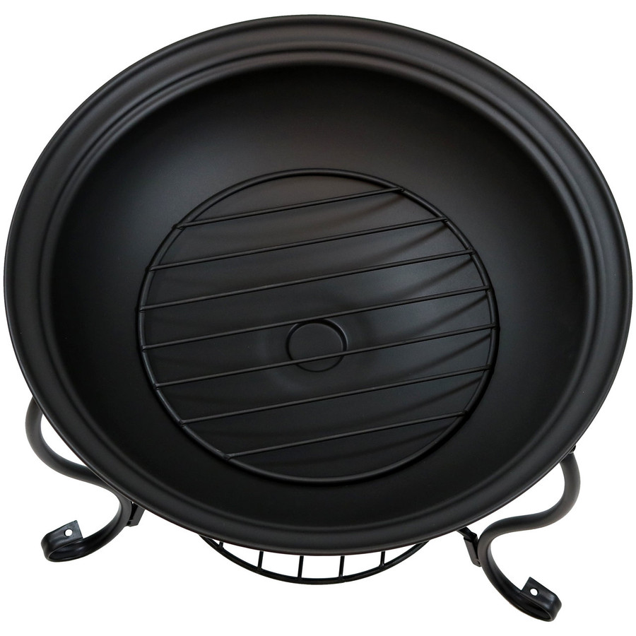 Top View of Black Steel Fire Pit with Spark Screen and Built-In Firewood and Kindling Holder
