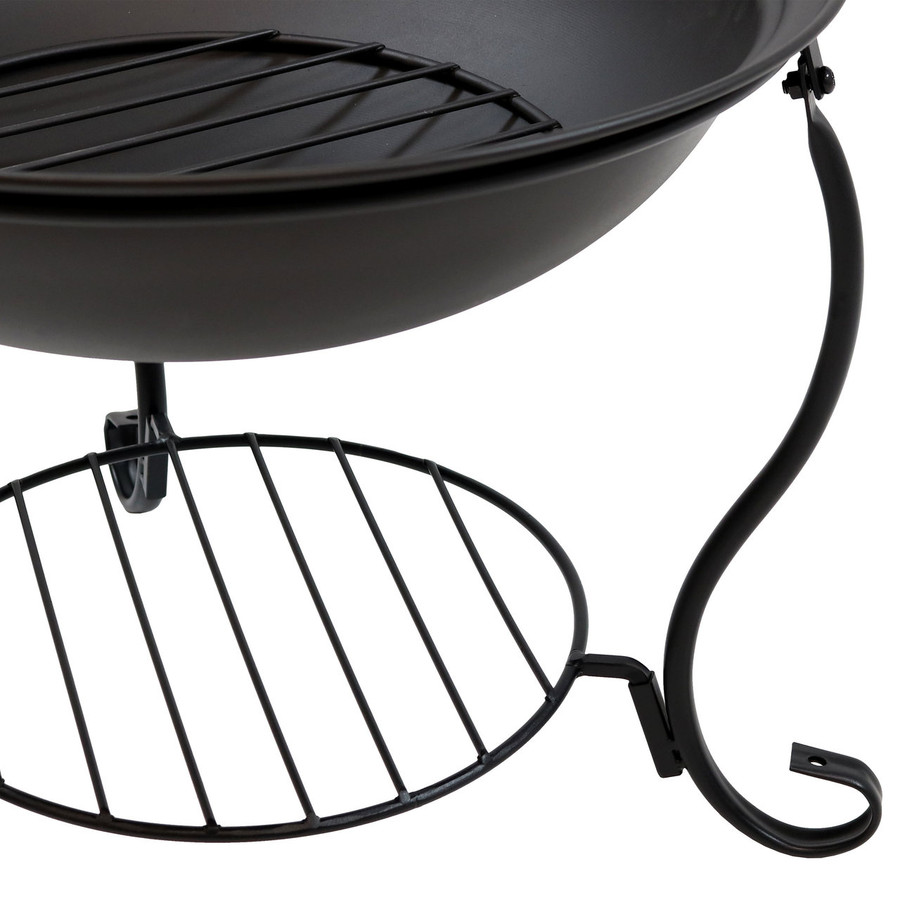 Closeup of Black Steel Fire Pit and Built-In Firewood and Kindling Holder