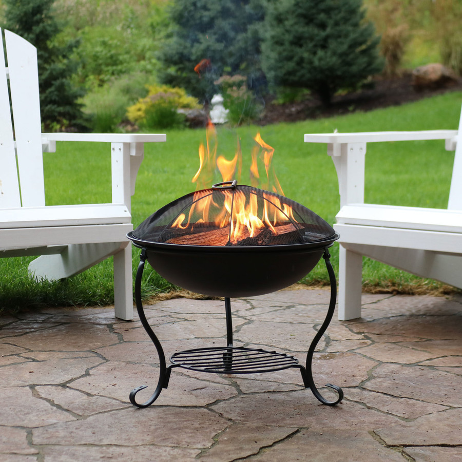 Black Steel Fire Pit with Spark Screen and Built-In Firewood and Kindling Holder