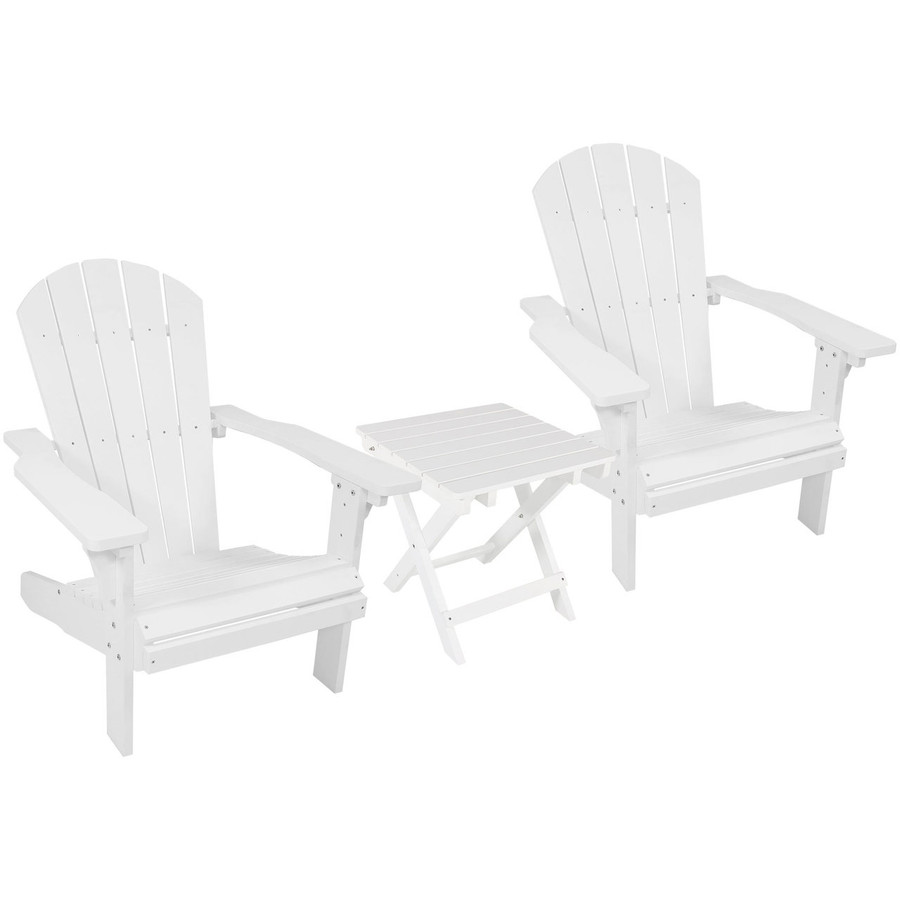 White Set of 2 with Side Table