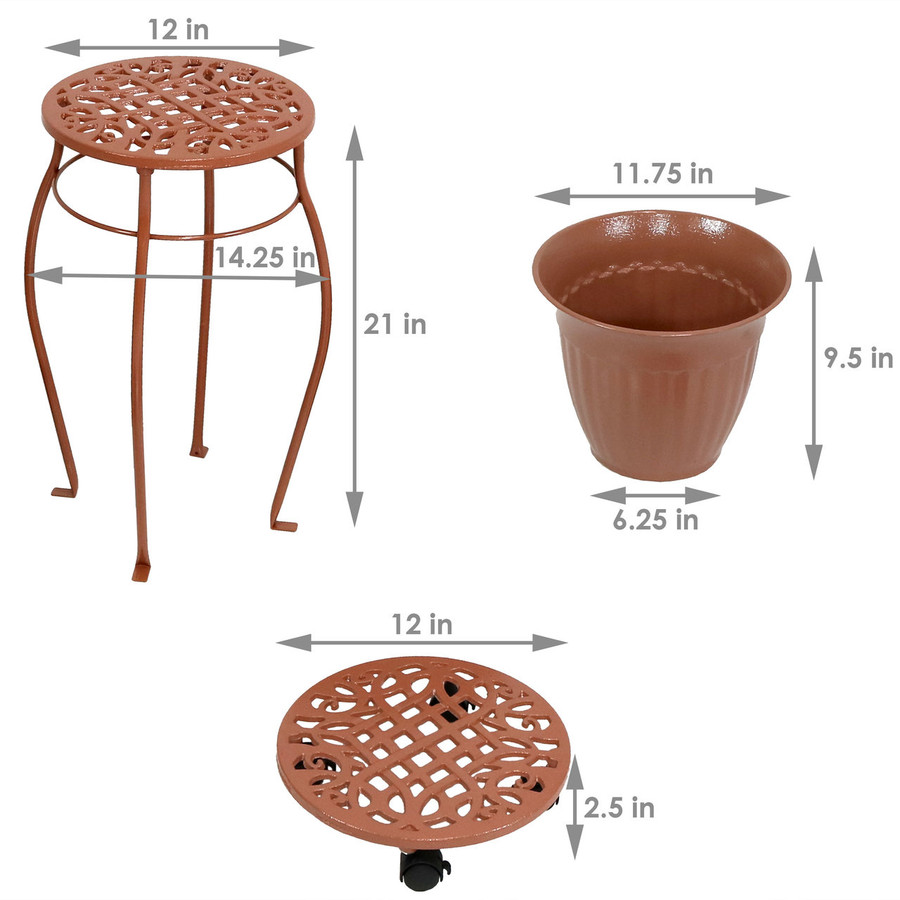 Dimensions of Cast Iron Planters, Plant Stand and Caddies with Wheels Set, Bronze