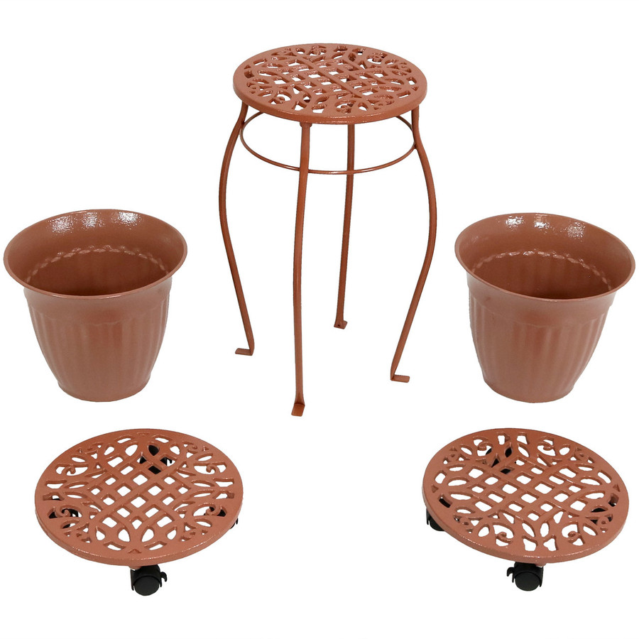 Cast Iron Planters, Plant Stand and Caddies with Wheels Set, Bronze