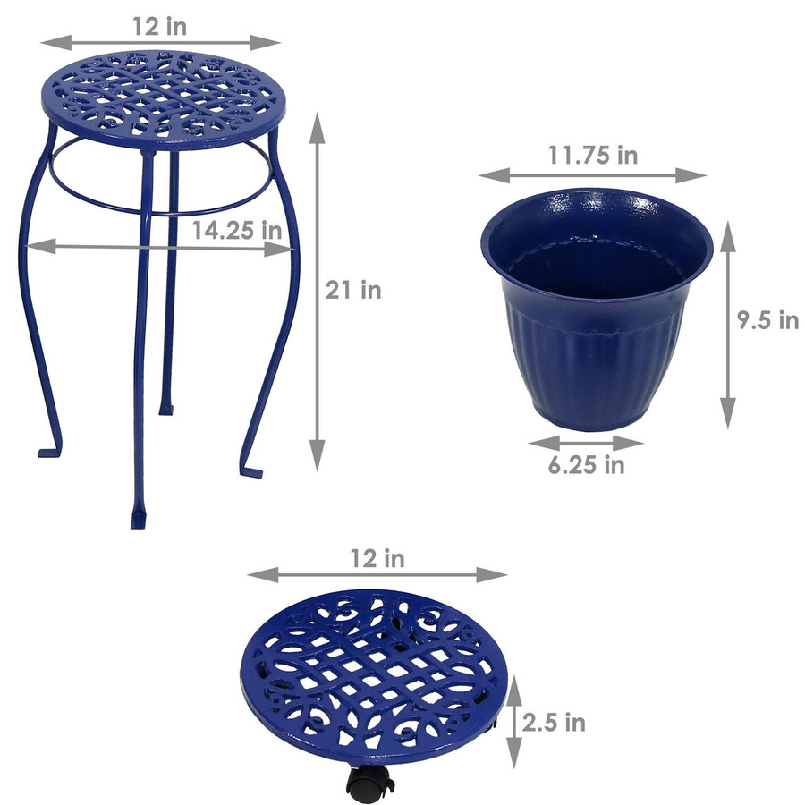 Dimensions of Cast Iron Planters, Plant Stand and Caddies with Wheels Set, Dark Blue
