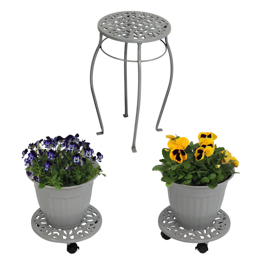 Cast Iron Planters, Plant Stand and Caddies with Wheels Set, Dark Gray