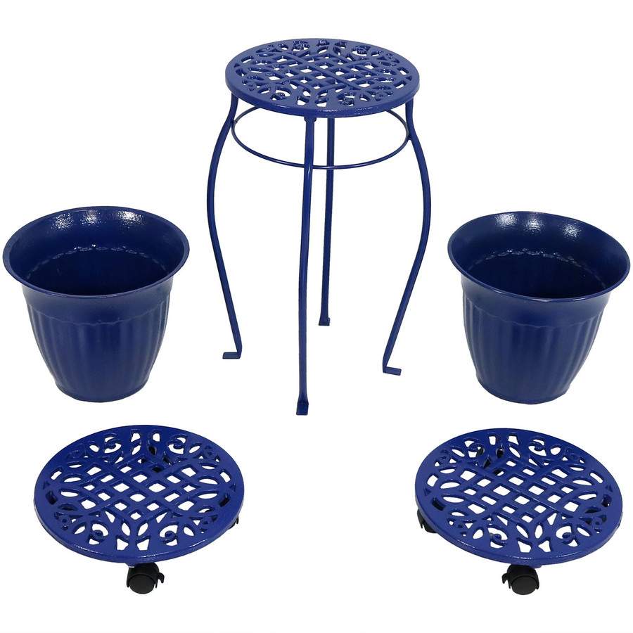 Cast Iron Planters, Plant Stand and Caddies with Wheels Set, Dark Blue