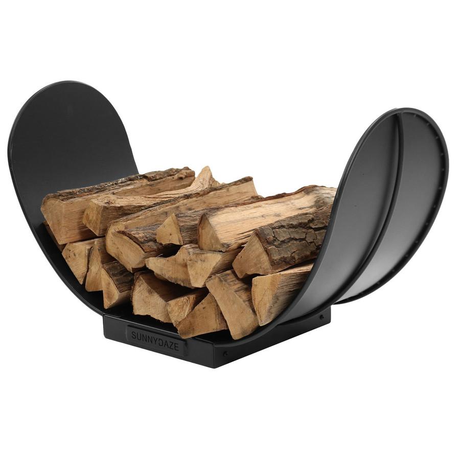 3' Curved Black Steel Outdoor Firewood Log Rack