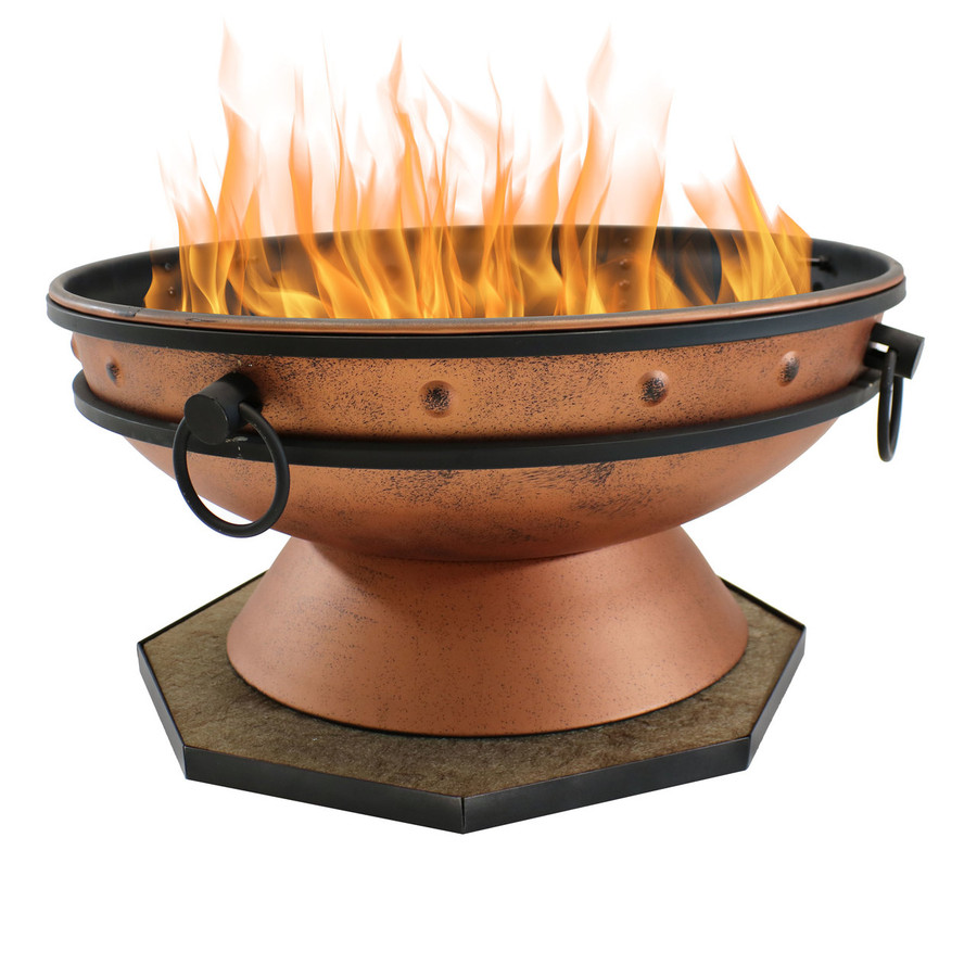 "24"" DeckProtect Shown with Sunnydaze Royal Cauldron Fire Pit (Fire Pit Sold Separately)"