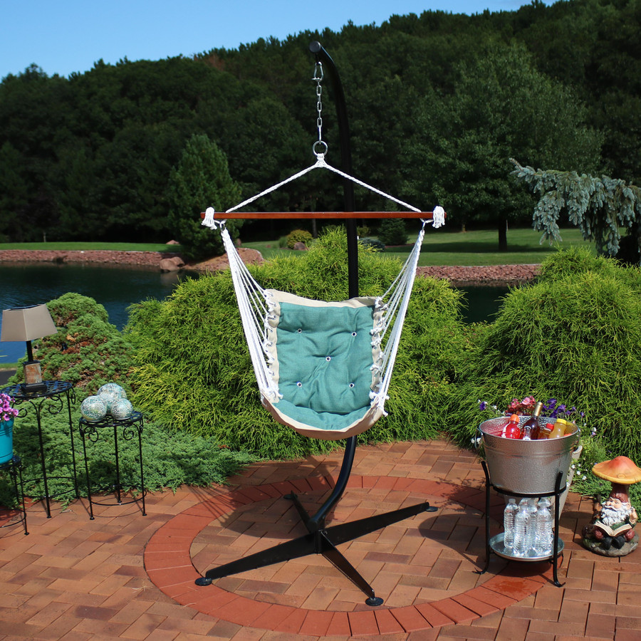 Sunnydaze Tufted Victorian Hammock Swing and C-Stand Combo for Outdoor Use, 300-Pound Weight Capacity