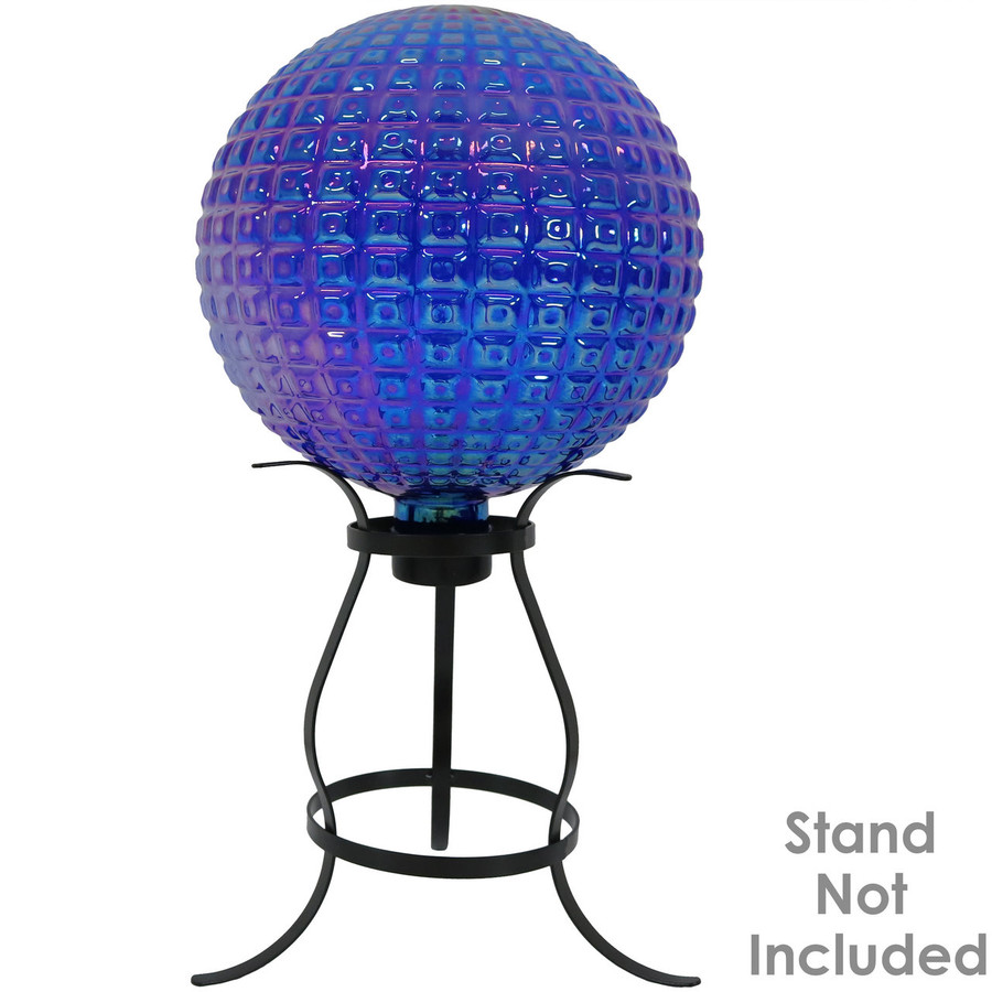 View of Purple Textured Squares Gazing Globe Ball (Please Note, Stand is Not Included)