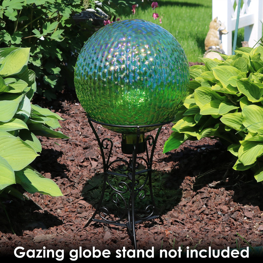 Sunnydaze Green Textured Surface Gazing Globe Ball, 10-Inch
