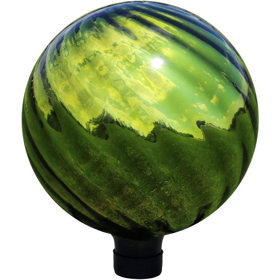 View of Green Rippled Mirrored Surface Gazing Globe Ball