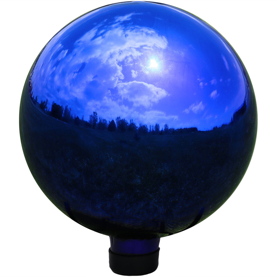 View of Blue Mirrored Surface Gazing Globe Ball