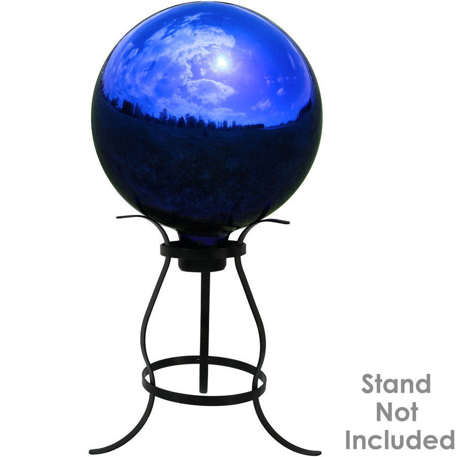 View of Blue Mirrored Surface Gazing Globe Ball (Please Note, Stand is Not Included)