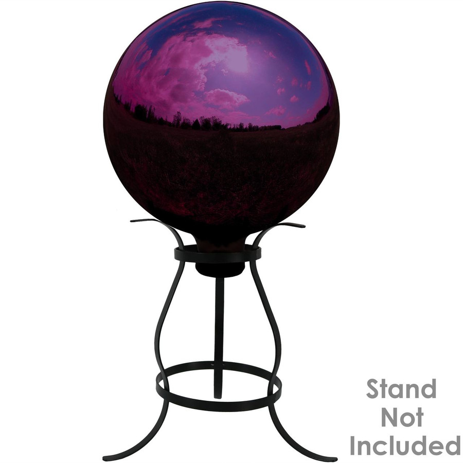 Sunnydaze Merlot Mirrored Surface Gazing Ball Globe, 10-Inch