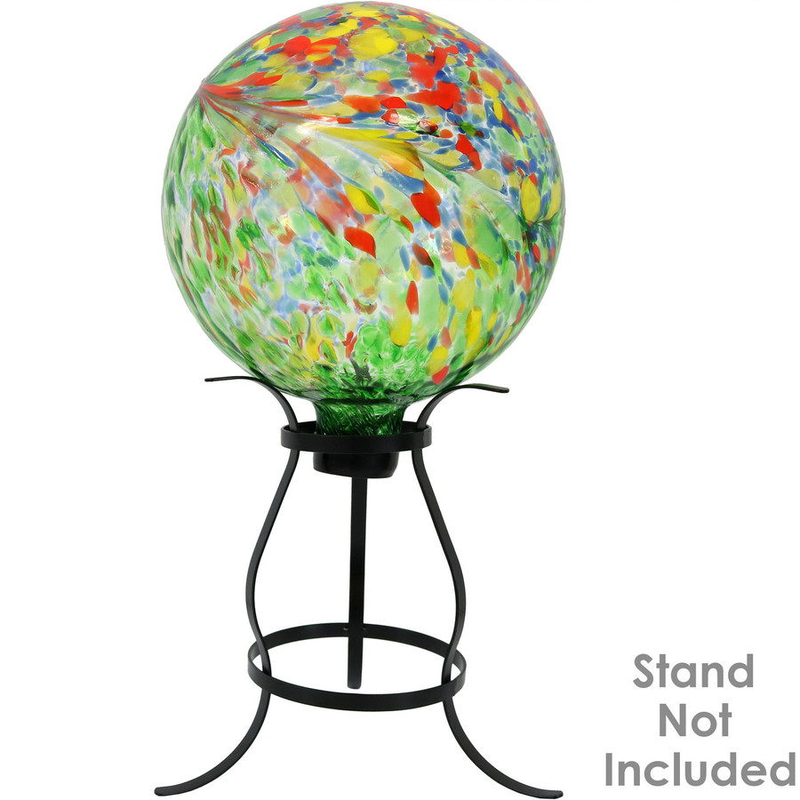 View of the Green Artistic Glass Gazing Ball Globe (Please Note, Stand is Not Included)