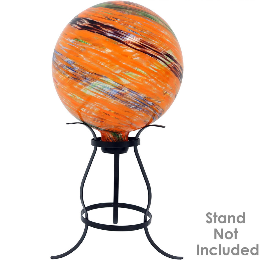 View of the Sunset Sky Glass Outdoor Gazing Ball Globe (Please Note, Stand is Not Included)